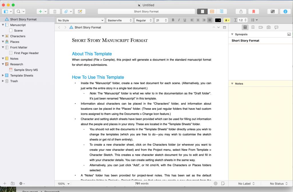 A screen shot of the Short Story Manuscript Format of the writing app Scrivener