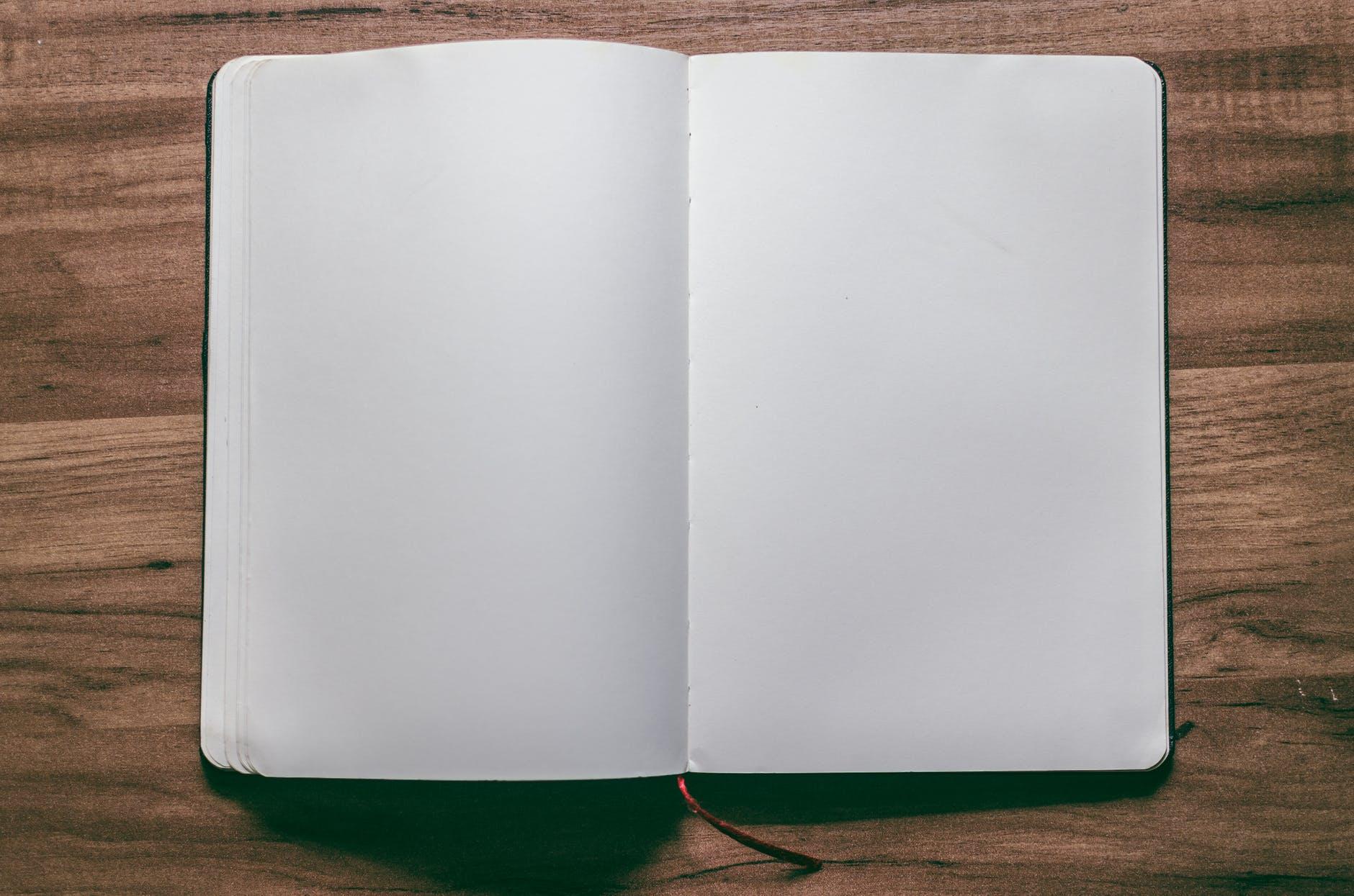 An open, blank journal